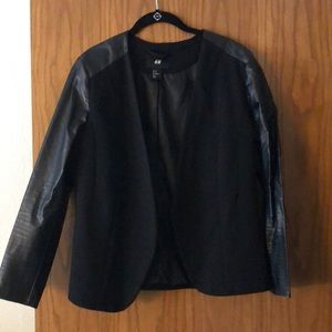 HM leather sleeve blazer